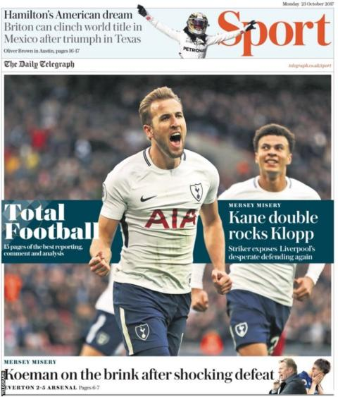 The back page of the Daily Telegraph on Monday