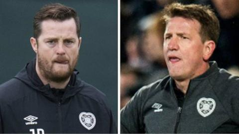 Jon Daly and Hearts manager Daniel Stendel