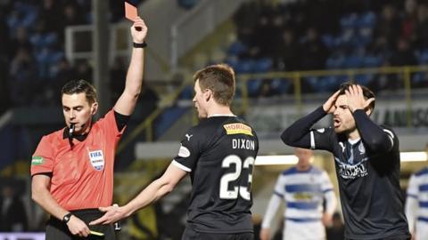 Falkirk's Paul Dixon is sent off after bringing down Greg Kiltie