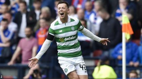Celtic's Callum McGregor celebrates against Rangers