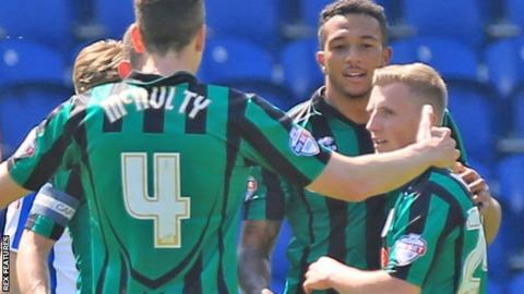 Rochdale celebrate first goal at Colchester