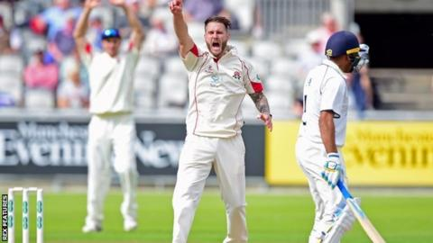 Kyle Jarvis has only once returned better bowling figures in his 39 first-class matches over four years with Lancashire - his 6-61 against Hampshire earlier this month