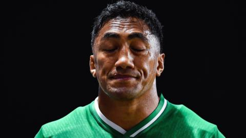 Bundee Aki's reaction as he walks off the pitch in Fukuoka after his red card