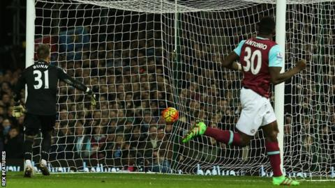 Michail Antonio heads in for West Ham against Aston Villa