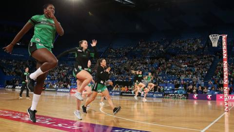 Perth, Australia, 28 July: The Fever warm up before their Super Netball match against the Vixens at Perth Arena. (Photo by Paul Kane/Getty Images)