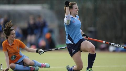 Megan Frazer celebrates her equaliser for Ulster Elks in the Irish Cup final against Ards in March