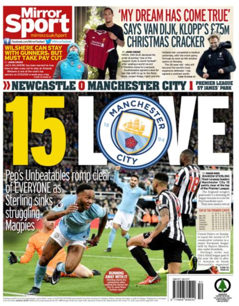 The Mirror back page on Thursday