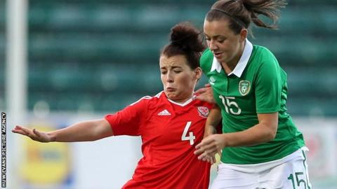 Ireland's Katie McCabe in action against Wales' Angharad James in August 2016