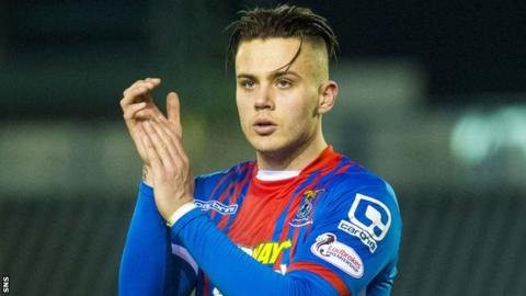 Miles Storey celebrates with Inverness Caledonian Thistle