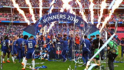 Chelsea celebrate winning the 2018 FA Cup