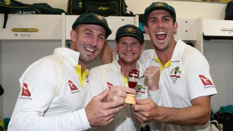 Shaun Marsh, Steve Smith and Mitchell Marsh