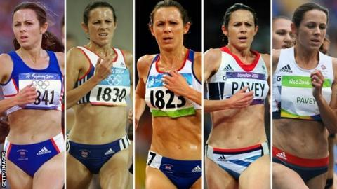 Jo Pavey at the Olympics in 2000, 2004. 2008