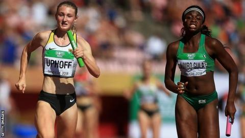 Patience Jumbo-Gula (right) helped Ireland clinch a 4x100m silver medal at the World Under-20 Championships in Finland