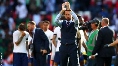 49c06f3f82c Gareth Southgate applauds the England supporters after their friendly with  Nigeria