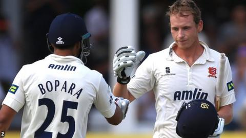 Ravi Bopara (left) congratulates Tom Westley on reaching his century