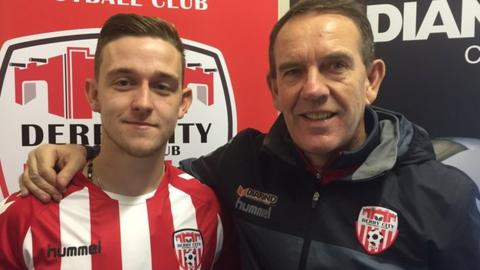 Mikhail Kennedy alongside Candystripes manager Kenny Shiels at the Brandywell