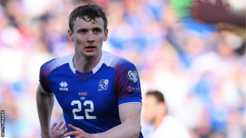 Jon Dadi Bodvarsson in action for Iceland