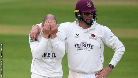 Jack Leach was Somerset's main hope of forcing victory going into the rain-hit final day but the England spinner picked up just one wicket - and a consoling hug from Marcus Trescothick