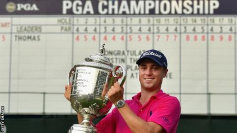 Justin Thomas with the Wanamaker trophy after winning the 2017 US PGA Championship