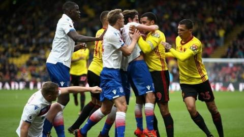 Stoke and Watford players