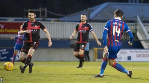 George Oakley gives Inverness an early lead against Crusaders