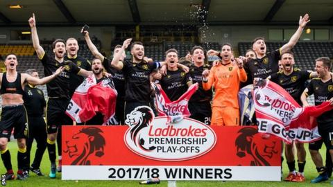 Livingston players celebrate promotion after beating Partick Thistle in a play-off
