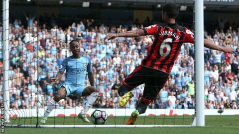 Raheem Sterling scores for Man City against Bournemouth