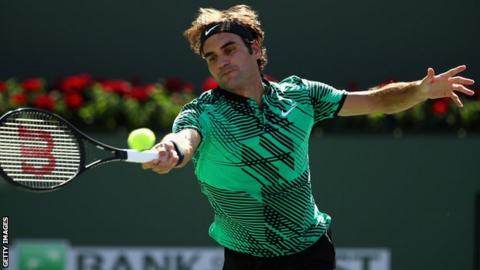 Roger Federer in action in the final of the BNP Paribas Open