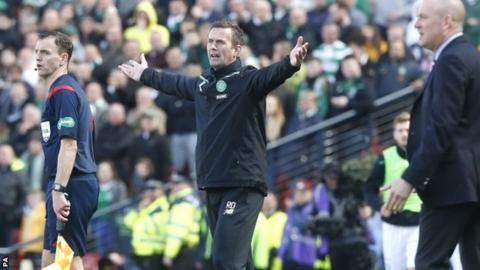 Ronny Deila complains at a referee's decision during Celtic's defeat