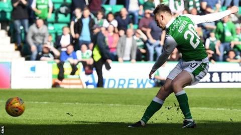 Brandon Barker scores for Hibernian against Kilmarnock