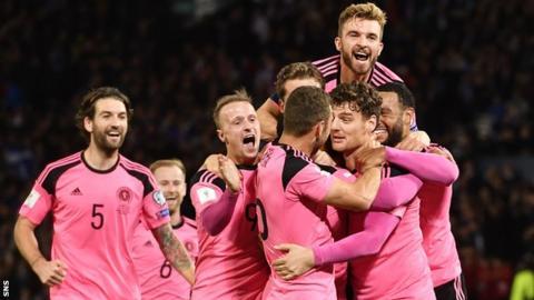 Scotland's players celebrate the winning goal