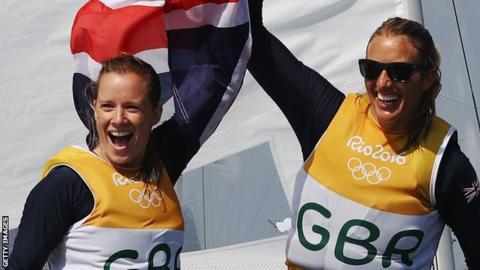 Hannah Mills (left) with Saskia Mills