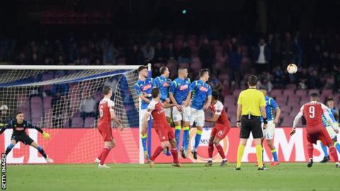 Napoli 0-1 Arsenal: Alexandre Lacazette seals Europa League semi-final spot