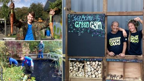 Alex Mason at Skelton Grange Green Gym (top right), more Green Gym work taking place at Skelton Grange and other Green Gym members