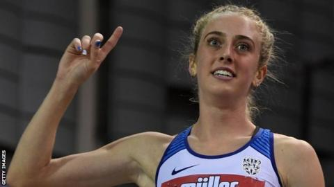 Britain's Jemma Reekie celebrates after taking first place during the women's 1500m final at the Indoor Grand Prix in Glasgow