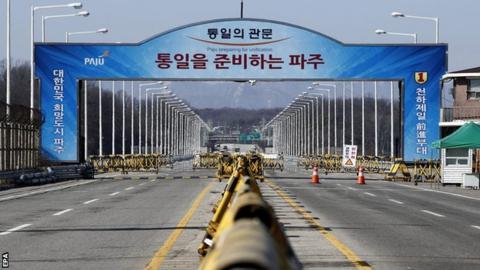 The unification bridge near the demilitarised zone in Paju in Gyeonggi-do Province, South Korea