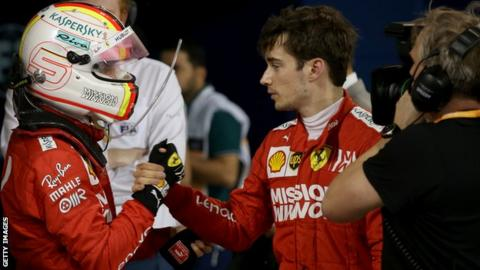 Sebastian Vettel consoles Charles Leclerc after the Bahrain Grand Prix