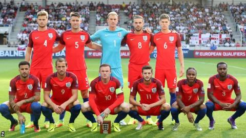 England's starting line-up against Slovakia