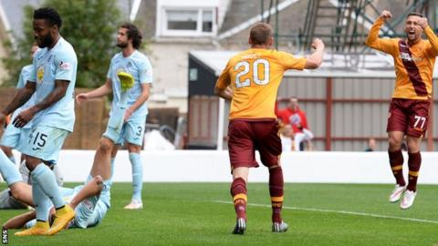 Motherwell celebrate opening the scoring