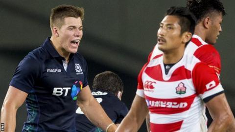 Scotland wing Huw Jones celebrates against Japan last year