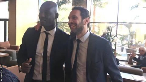 Former Ghana international Tony Baffoe (left) and Egyptian Amr Fahmy