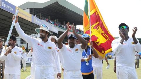 Sri Lanka celebrate their series win