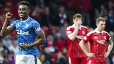 Rangers' Joe Dodoo (left) celebrates his goal against Aberdeen