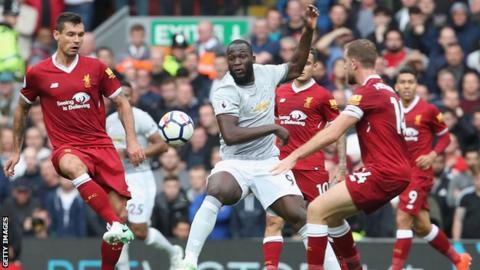 Lovren and Lukaku contest the ball during Liverpool v Man Utd