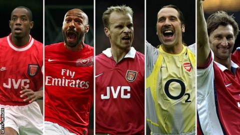 Former Arsenal players Ian Wright, Thierry Henry, Dennis Bergkamp, David Seaman and Tony Adams