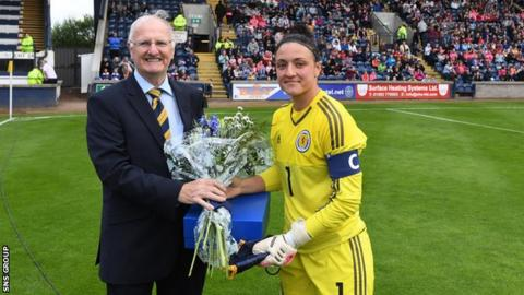 Gemma Fay was presented with her 200th Scotland cap prior to kick off
