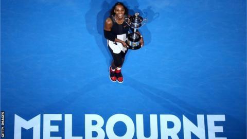 Serena Williams celebrates winning the 2017 Australian Open title