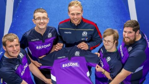 Greig Tonks with members of The Clan at Murrayfield Stadium