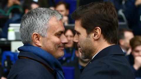Man Utd manager Jose Mourinho and Tottenham boss Mauricio Pochettino