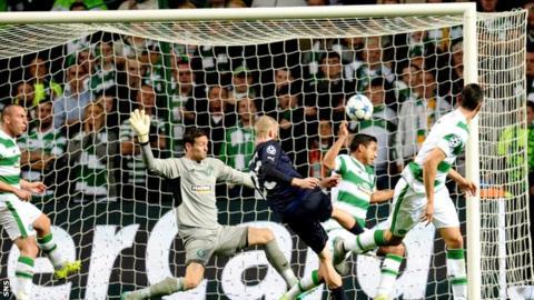 Jo Inge Berget scores for Malmo against Celtic